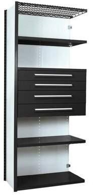 "Equipto V-Grip 84"" Shelving with Drawers Unit - 4Drw/5Shelf Closed AddOn, 4 drawers - 3"",4.5"", 6"", 7.5"" H; 400 lb capacity Equipto Finish: Textured Black, Siz"