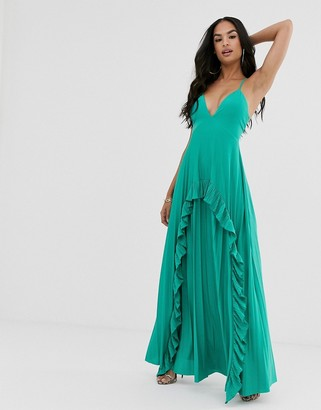ASOS DESIGN Strappy pleated maxi dress with ruffle pleat detail