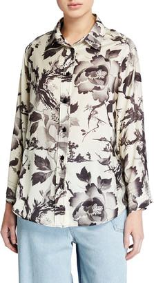 Mcq Swallow Yaemi Floral-Print Button-Down Shirt