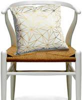 Ciel Botanical Japanese Floral Print Cushion White Gold