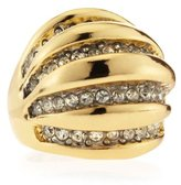 Kenneth Jay Lane Rhinestone Ribbed Dome Statment Ring, Golden