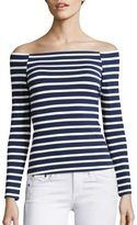 L'Agence Cynthia Striped Off-The-Shoulder Top