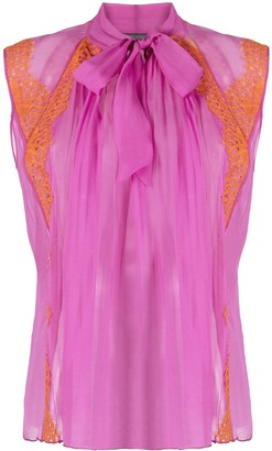 Alberta Ferretti Lace-Panelled Sleeveless Blouse