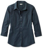 L.L. Bean Wrinkle-Free Pinpoint Oxford Shirt, Three-Quarter-Sleeve Slightly Fitted Plaid