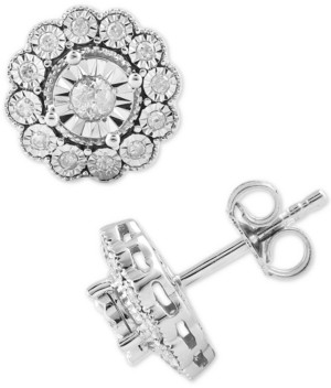 Macy's Diamond Flower Stud Earrings (1/3 ct. t.w.) in Sterling Silver
