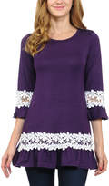 Celeste Purple Floral-Band Ruffle Tunic