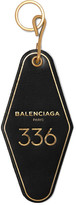 Balenciaga Hotel Embossed Leather Keychain - Black