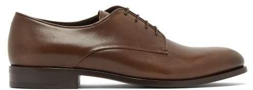 Giorgio Armani Calf Leather Derby Shoes - Mens - Dark Brown
