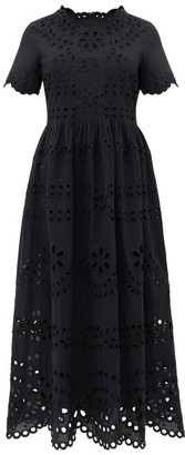 RED Valentino Broderie-anglaise Cotton-poplin Maxi Dress - Womens - Black