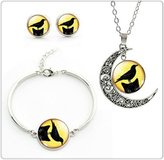 Nobrand No brand Holiday Party jewelry set glass bird Necklace Stud Earrings Bracelet set Cute jewelry set for children
