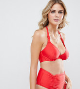 Wolfwhistle Wolf & Whistle Fuller Bust Exclusive strung and gathered underwired halter bikini top in red