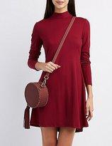 Charlotte Russe Mock Neck Tie-Back Dress