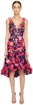 Marchesa Plunge High-Low Cocktail w/ Flower Petals Women's Dress