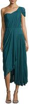 J. Mendel One-Shoulder Asymmetric Pleated Dress, Empress Green