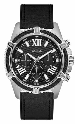 GUESS Men's Analog Quartz Watch with Leather Crocodile Strap