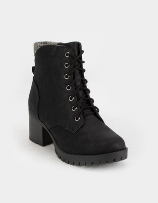 Soda Sunglasses Lace Up Womens Black Booties