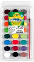 Crayola Watercolor Paints with Brush, Washable, 24 colors