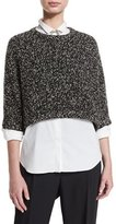 Brunello Cucinelli Cropped Boucle Paillette Sweater, Onyx