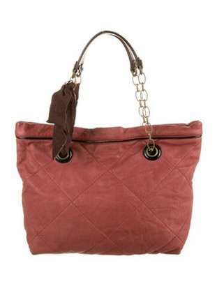 Lanvin Quilted Leather Tote Red