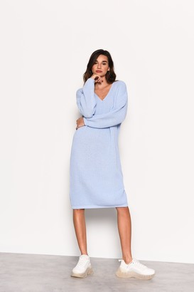 Glamorous Womens **Pale Blue Knitted Midi Jumper Dress By Pale Blue