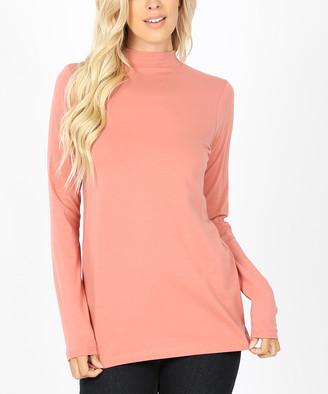 Ash Zenana Women's Tee Shirts  Rose Long-Sleeve Mock Neck Tee - Women & Plus