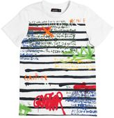 Junior Gaultier Graffiti Printed Cotton Jersey T-Shirt