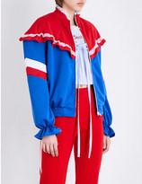 Ground Zero Floral-lace jersey zip-up jacket