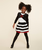 Dollie & Me Cream & Black Stripe Skirt Set & Doll Outfit - Girls