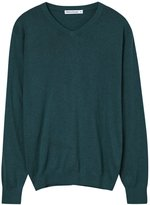 Meters/bonwe Men's Casual V Neck Long Sleeve Solid Color Sweater, XXXL