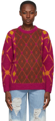 Sjyp Pink Wool Argyle Contrast Sweater