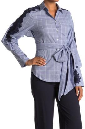 Jonathan Simkhai Plaid Lace Trim Caped Tie Waist Shirt