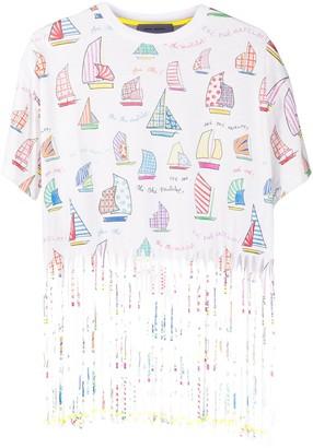 Mira Mikati fringed sail boat print T-shirt