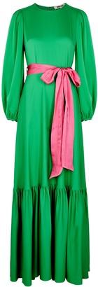 Diane von Furstenberg Amabel green belted satin gown