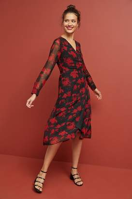Next Womens Red/Black Wrap Dress - Red