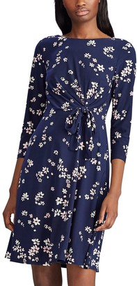 Chaps Women's Floral Draped Knot-Front Dress