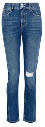 Dorothy Perkins Womens Indigo Rip Slim Leg Jeans