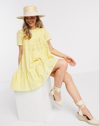 ASOS DESIGN mixed broderie mini smock dress in yellow
