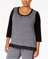 DKNY Plus Size Urban Essentials Colorblocked Pajama Top