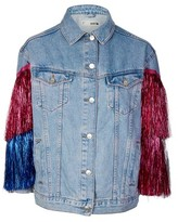 Topshop MOTO Tinsel Oversized Denim Jacket