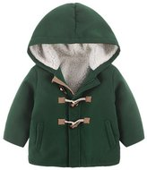 Happy Cherry Kids Winter Wool Horn Buttons Hooded Plus Velvet Coat Boys Outwear 7-8T