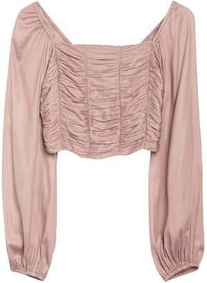 Do & Be Lolita Ruched Long Sleeve Satin Crop Top