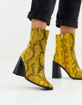 Co Wren square toe block heel boots in snake