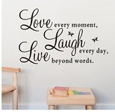 """Ussore Wall Sticker Live Love Butterfly Wall Stickers Home Decor Wall Art For Kids Home Living Room House Bedroom Bathroom Kitchen Office """"Live Every Moment,Laugh Every Day,Love Beyond Words"""""""