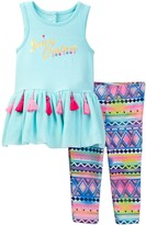 Juicy Couture Mesh Tunic with Tassel Trim & Printed Legging Set (Baby Girls 12-24M)