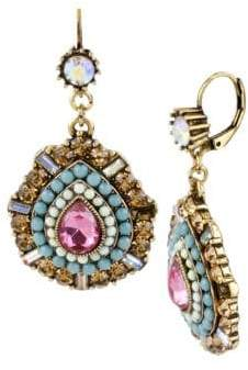 Betsey Johnson Multi Color Crystal and Bead Teardrop Earrings