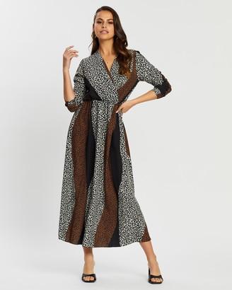 boohoo Mix Leopard Print Wrap Midi Dress