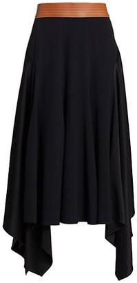 Loewe Leather Waistband Asymmetric Midi Skirt