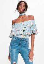 Blue Floral Print Bardot Choker Neck Bodysuit, Blue