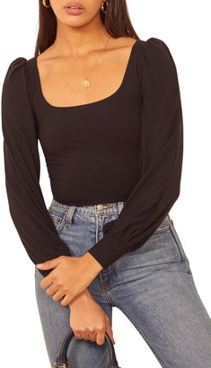 Reformation Vita Ribbed Long Sleeve Top