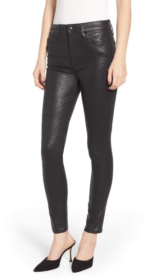 Joe's Jeans Flawless - Charlie Crackle Coated High Waist Ankle Skinny Jeans